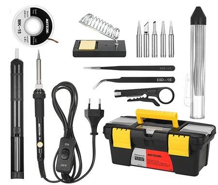 fer à souder électrique Meterk 14 en 1 - vue des différents outils disponibles dans ce kit
