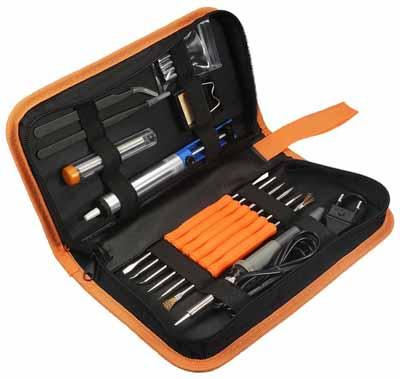 Kit de Soudage GOCHANGE 220V Soldering Iron - Pochette du fer à souder électronique avec les différents outils